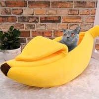 Gato de banana bonito cama casa quente do animal de estimação filhote de cachorro banana almofada canil portátil pet esteira camas para gatos gatinho macio cama gato gato suprimentos