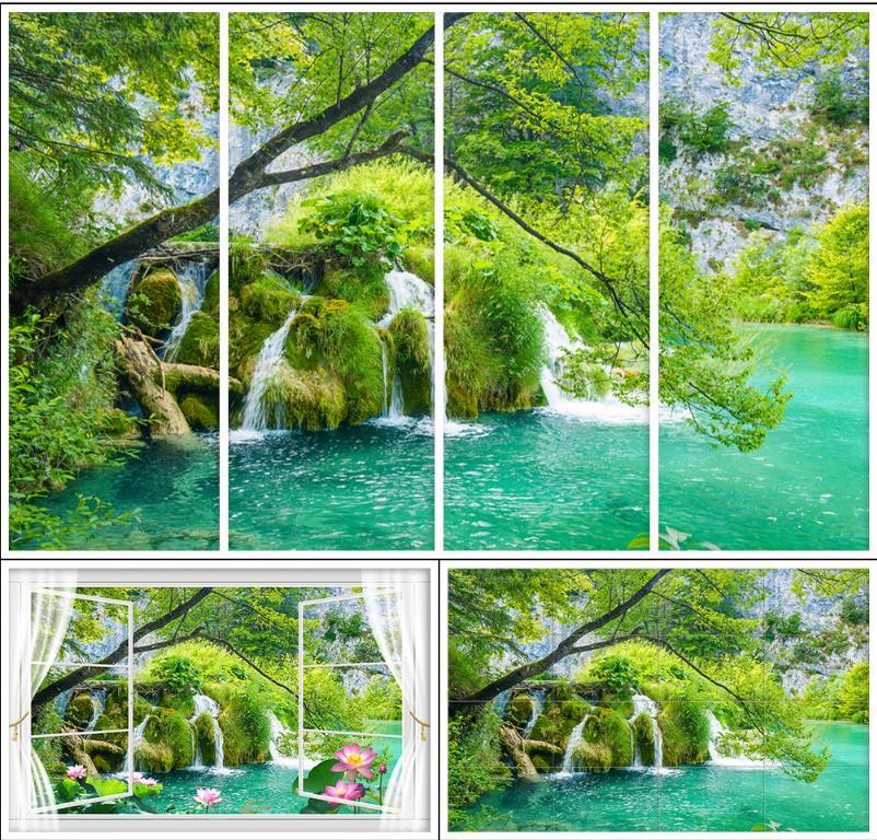 Купить с кэшбэком 3D wall murals wallpaper custom photo wallpaper mural 3D outdoors landscape flowers mural pond landscape background wall papers