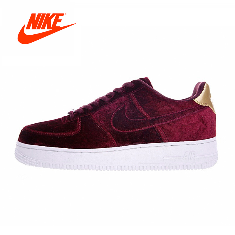 Original New Arrival Authentic Nike AIR FORCE 1 VELVET AF Women Skateboard Shoes Velvet Wine Red Sneaker Comfortable