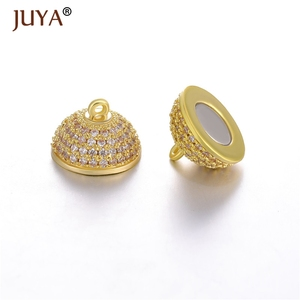 Image 2 - JUYA 10ps Wholesale Luxury AAA Zircon CZ Pave Ball Magnetic Clasps Hooks For Necklace Bracelet End Beads Chain Clasp Findings