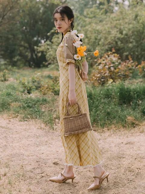 2019 new fashion women's dresses French Vintage Plaid Panel High Waist Dress France Slim Fishtail Summer