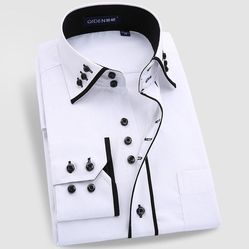 Striped Dress Shirt Brand Men Slim Fit White Black Social Wedding ...