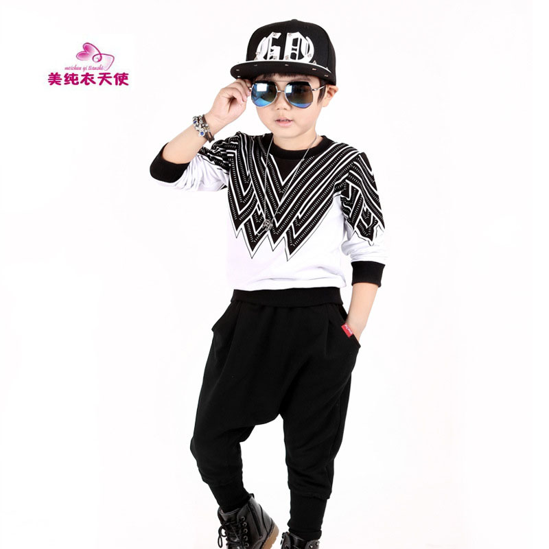 Boys Tracksuits Sets Spring Autumn Hip Hop Clothing Kids Sport Suits Long Sleeved Pullover + Harem Pants Suit 4 5 7 9 11 Years