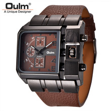 New Design Luxury Brand Oulm 3364 Mens Large Square Dial Outdoor Analog Wrist Watch Leather Band For Men