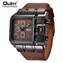 تصميم جديد ماركة فاخرة Oulm 3364 رجالية كبيرة مربع الطلب في الهواء الطلق التناظرية ساعة معصم حلقة من جلد للرجال