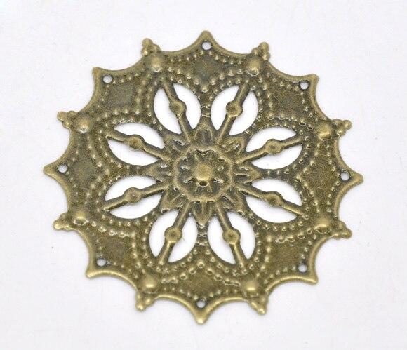 Дорин коробка Прекрасный 50 бронзовый тон филигрань цветок Обертывания Инструменты для наращивания волос 43 мм (b14167)