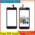 Libre herramientas de bricolaje + nueva pantalla táctil original para huawei ascend y550 sensor capacitivo de cristal para huawei y550 panel de pantalla táctil negro