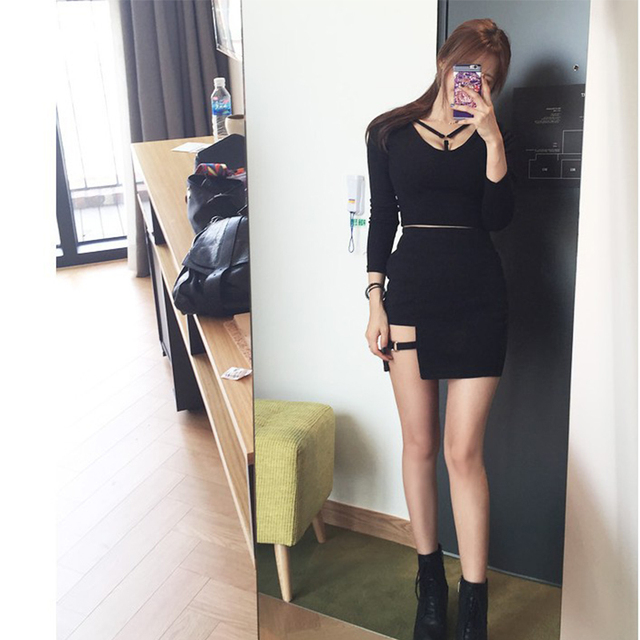 Korean women personality iron ring hip Empire dress irregular sexy black dress large size fashion Knee-Length Gothic A-Line 4