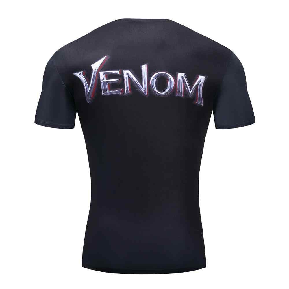 Мужская футболка для фитнеса Venom, повседневная компрессионная рубашка для бега, фитнеса, тонкая футболка с коротким рукавом, футболка для фитнеса Marvel