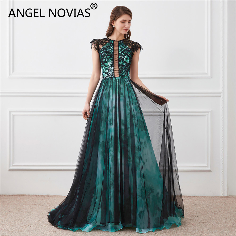 Angel Novias Abendkleider Long Elegant   Evening     Dresses   For Woman 2018 Black and Green   Evening   Gowns Sheer Back Robe De Soiree