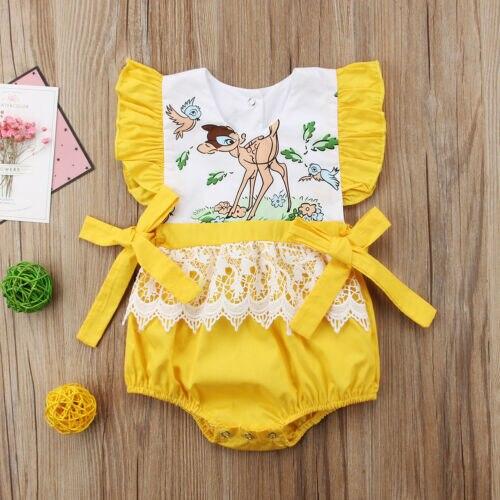 Neue Neugeborene Baby Kinder Spitzen Strampler Insgesamt Sunsuit Outfit