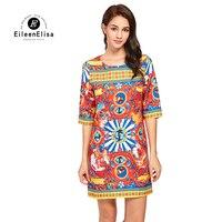 Eileen Elisa Print Dress 2017 Runway Autumn Boho Sexy Floral Print V Neck Lantern Sleeve Dress