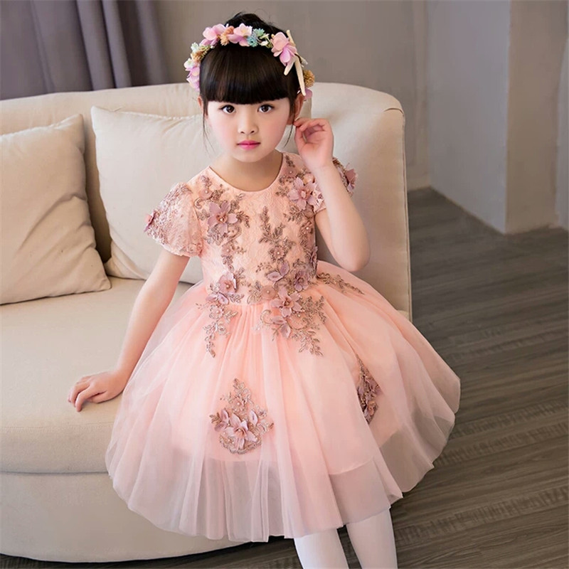 New Arrival High Quality Children Girls Princess Lace Dress Hand-Made Flowers Decoration Kids Girls Birthday Wedding Party Dress new high quality children girls blue princess lace party dress wedding birthday dress with layers mesh tail kids costume dress