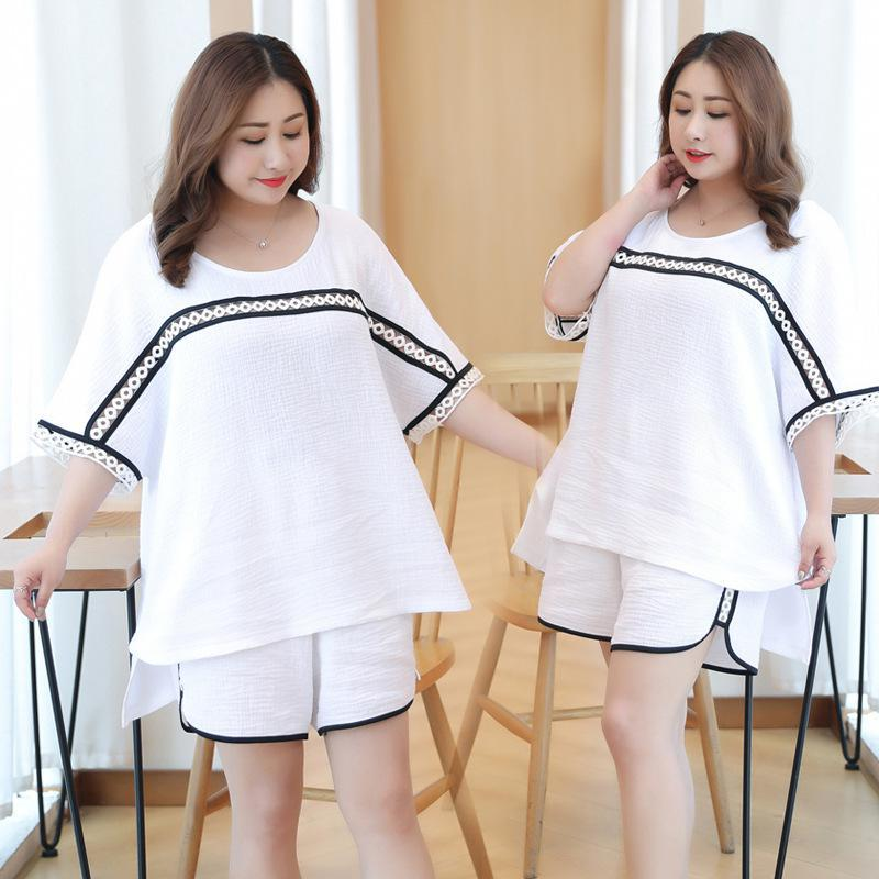 Plus Size Mesh Cotton 2PCS Short   Pajamas     Set   Chinese National Style Home Wear Casual Sleepwear Suit Nightwear Oversize XXXL