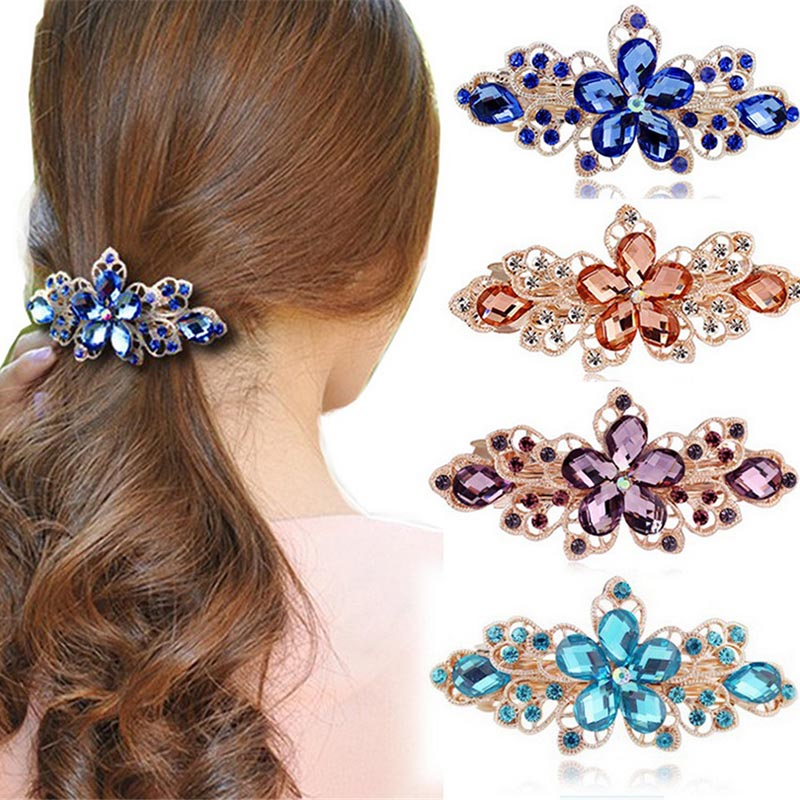 Women Metals Hairpin Crystal Flower Lady Girl Hair Accessories Barrette Clip Hairclip Rhinestones Headwear Gorgeous Gift Headdre