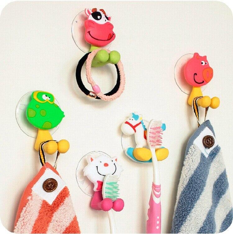 one piece cartoon plastic toothbrush holder kids cute suction hooks sucker bathroom accessories zhy164