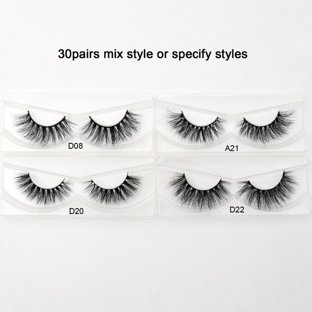 Visofree 30/40/100 Pairs 3D Mink Lashes With Tray No Box Handmade Full Strip Lashes Mink False Eyelashes Makeup eyelashes cilios 1