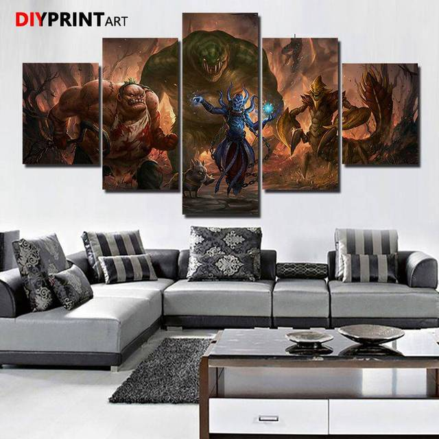 DOTA 2 Leviathan 5 Panels Game Characters Canvas Art Wall Pictures for Living Room A1034 1