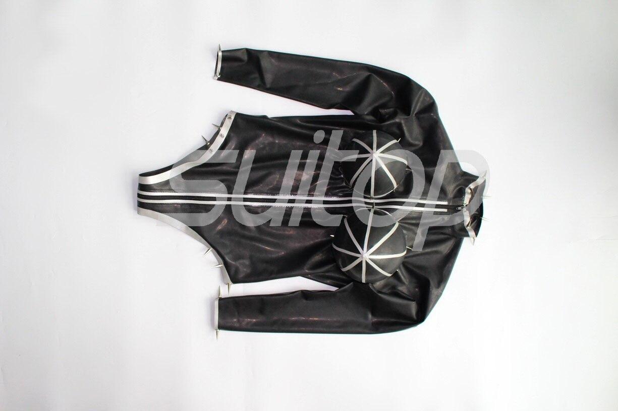 Латексные Боди wtih, надувные, с застежкой молнией на промежности черного и серебристого цвета