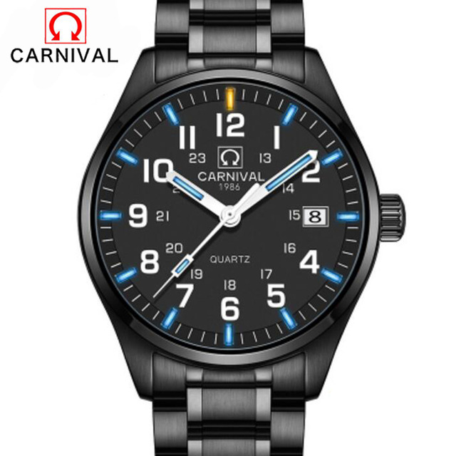 Carnival Tritium Gas Quartz Watch Men Luminous Sapphire Glass Calendar Military Watches Stainless Steel Clock yelang v1015 upgrade version khaki number tritium gas yellow luminous men automatic mechanical business watch steel watchband