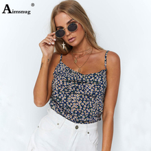Aimsnug Chiffon Sexy U-Neck chrysanthemum Flower Print Cami Top Women Clothing Boho Camisole Spaghetti Strap Summer Tops Camis flower print double v neck cami top