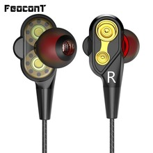 Wired Earphone High Bass Dual Drive Stereo 3.5mm In-Ear Earphones With Microphone Computer Earbuds For Cell Phone remax rm501 stylish in ear earphone w microphone for cell phone black 3 5mm