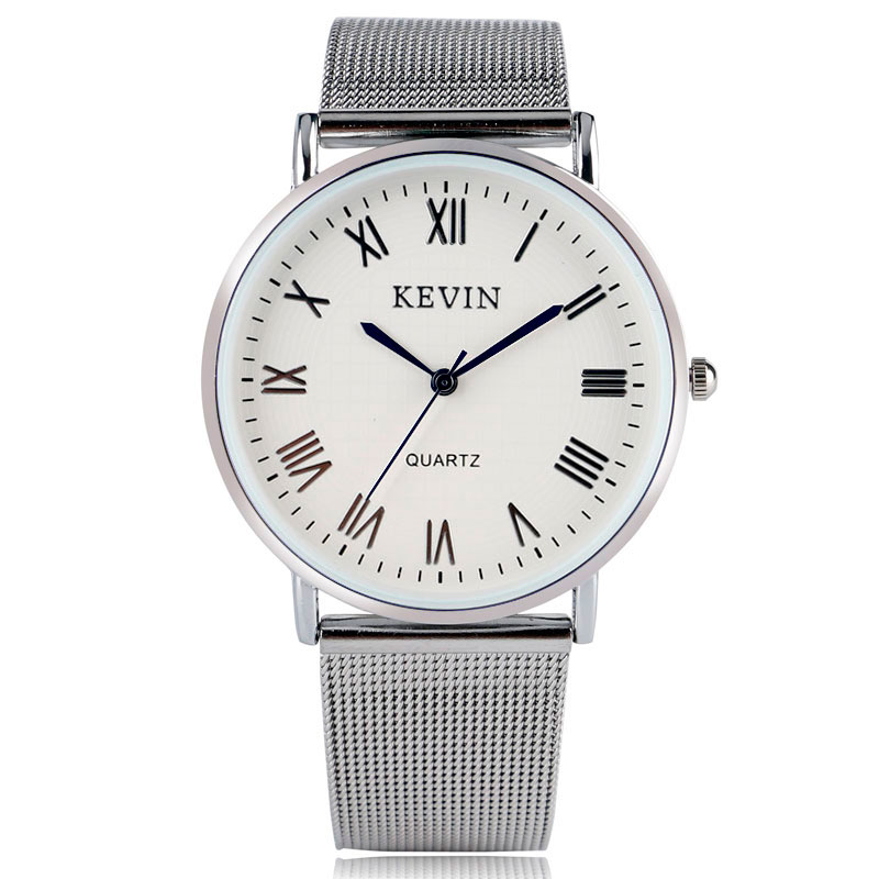 KEVIN Stainless Steel Mesh Ladies Girl Quartz Wrist Watch Women Casual Stylish Dress Trendy Roman Number Round Dial Gift bgg brand creative two turntables dial women men watch stainless mesh boy girl casual quartz watch students watch relogio