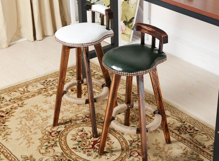Olid Wood Bar Chair. American Retro Bar Stool.. Domestic High Chair