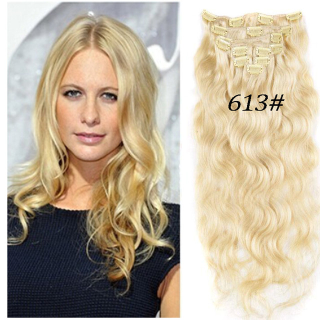 Envío Gratis Blonde #613 Clip En la Extensión Del Pelo Extensión Onda Del Cuerpo Sin Procesar Virginal Del Pelo Humano Europeo