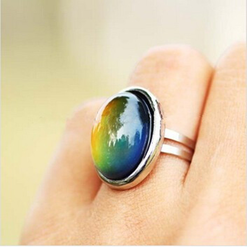 2016 Krystall Smykker Endre Farge Mood Ring Temperatur Emotion Feeling RINGS MOOD Justerbar størrelse Gaver Event Party Rekvisita