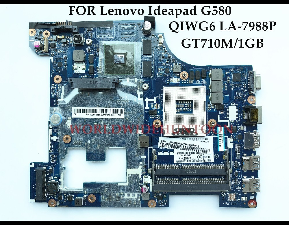 High quality for Lenovo Ideapad G580 Laptop Motherboard QIWG6 LA-7988P SLJ8E HM76 PGA989 DDR3 GT710M 1GB 100% Fully Tested 683495 001 for hp probook 4540s 4441 laptop motherboard pga989 hm76 ddr3 tested working