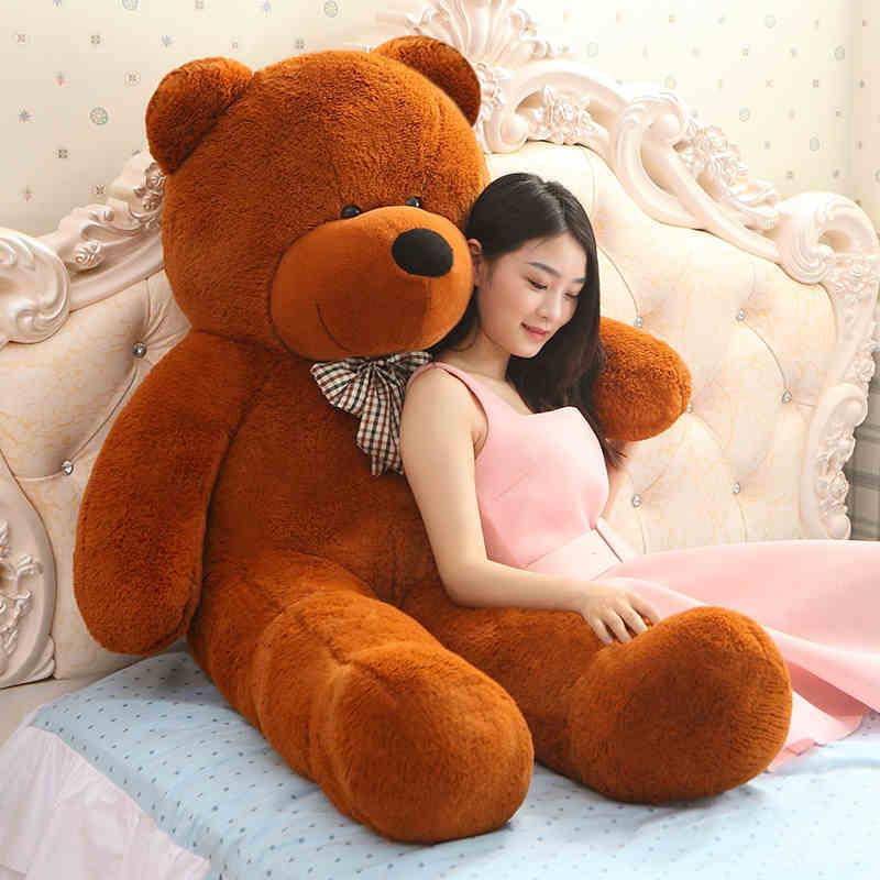 Giant teddy bear რბილი სათამაშო 160 სმ დიდი ზომის ფიტული სათამაშოები ცხოველები plush ცხოვრების ზომა ბავშვი Baby dolls lover სათამაშო ვალენტინობის საჩუქარი ლამაზი