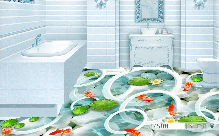 ФОТО custom 3d flooring wallpaper roll size 3d floor Clear water ponds photo wallpaper self adhesive 3d floor wallpaper