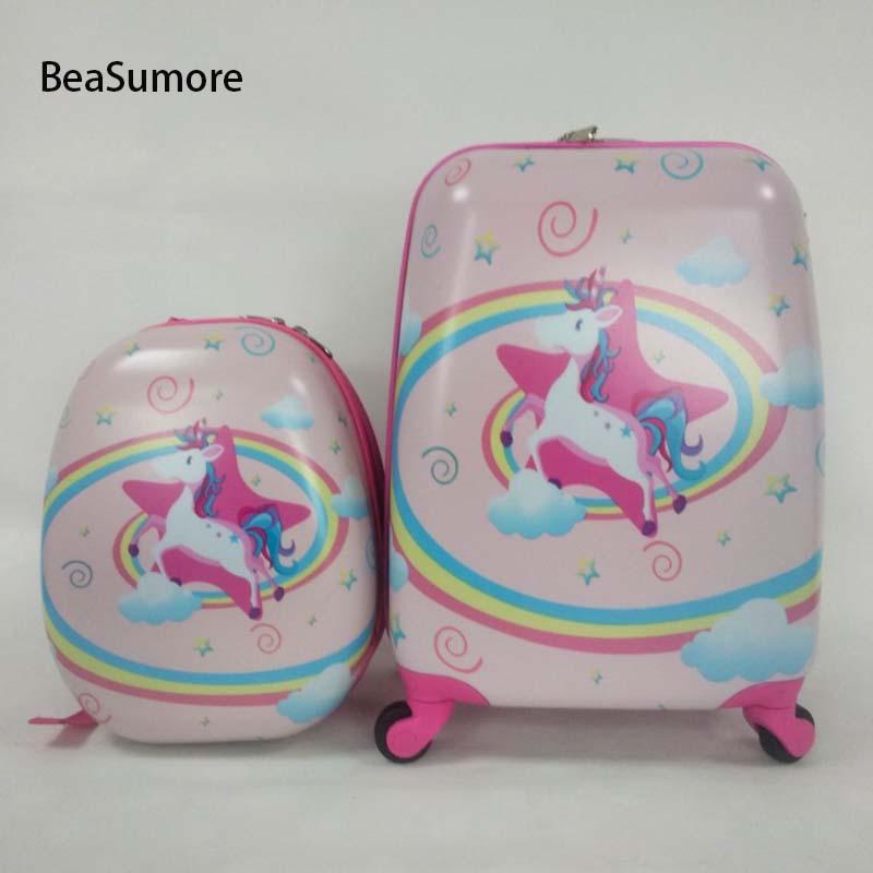 BeaSumore Brand Children Rolling Luggage Set Backpack Kid Suitcase Wheels Cute Cartoon Trolley Case Carry on