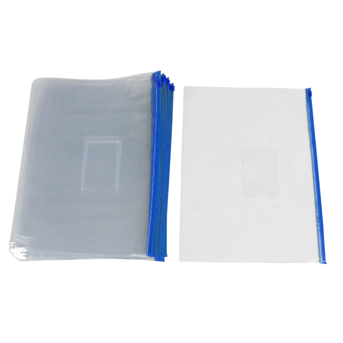 20 Pieces Transparent Blue Plastic Bag With A Zipper Slide Holder A4 Paper Bag