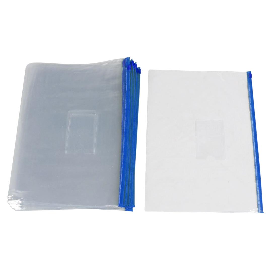 20 Pieces Transparent Blue Plastic Bag With A Zipper Slide Holder A4 Paper Bag