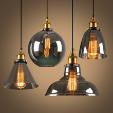 Antique Brass Brushed Smoke Gray Industrial Glass Pendant Lights Edison Rretro Fixture  Ceiling Lamp
