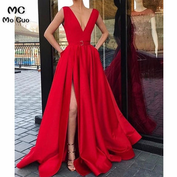 Elegant 2019 A-Line Evening Dresses Long Front Split Sleeveless Prom Dresses Long Floor Length Red Formal Evening Dress