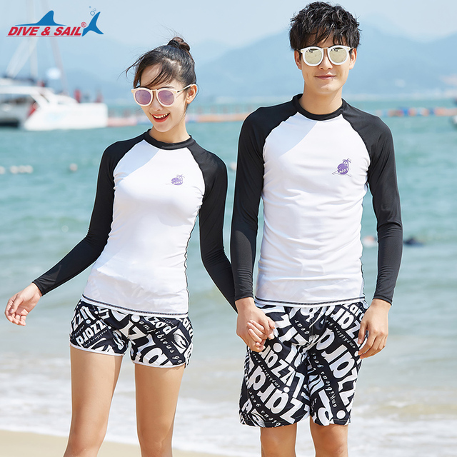 c447fe5304d Men s Womens Long Sleeve Rashguard Swim Shirt Trunks UV Sun Protection UPF  50+ Wetsuit Matching Couples Beachwear Swim Surf Suit