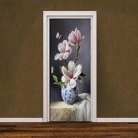 Oil Painting Magnolia Butterfly Door Stickers 3D Wallpaper Bedroom Living Room Door Decor 3D Deals PVC Self adhesive Waterproof|Door Stickers| |  -