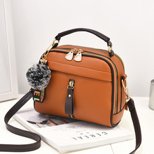 2018 Fashion Women Handbag PU Leather Women Messenger Bags With Ball Toy Female Shoulder Bags Ladies Party Handbags