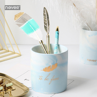 Never Light Blue Ceramic Pen Holder Desk Organizer Foil Gold Feather Color Pencil Holder Office Desk Accessories Gift Stationery