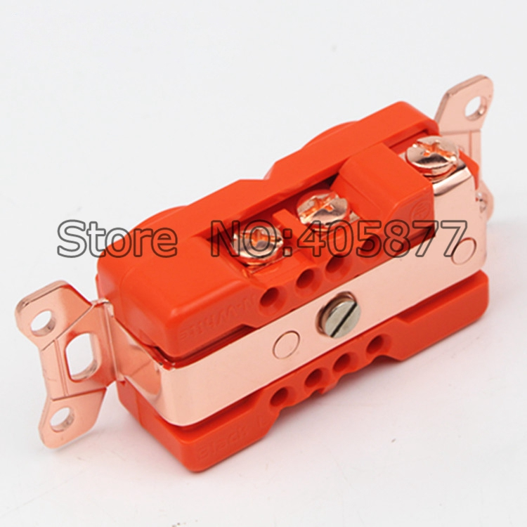 Free shipping Viborg US Red Copper plated Power Receptacle wall outlet for power distributor socket viborg rbl d20a red copper rhodium plated ac 20a power receptacles wall outlet