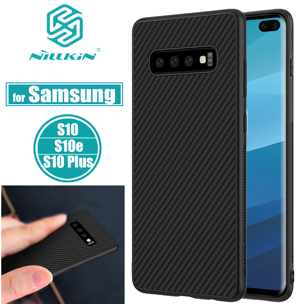 Nilkin for Samsung Galaxy S10 Plus Case S10e Cover Nillkin Carbon Synthetic Fiber Hard PC Ultra Thin Cases for Samsung S10 Lite