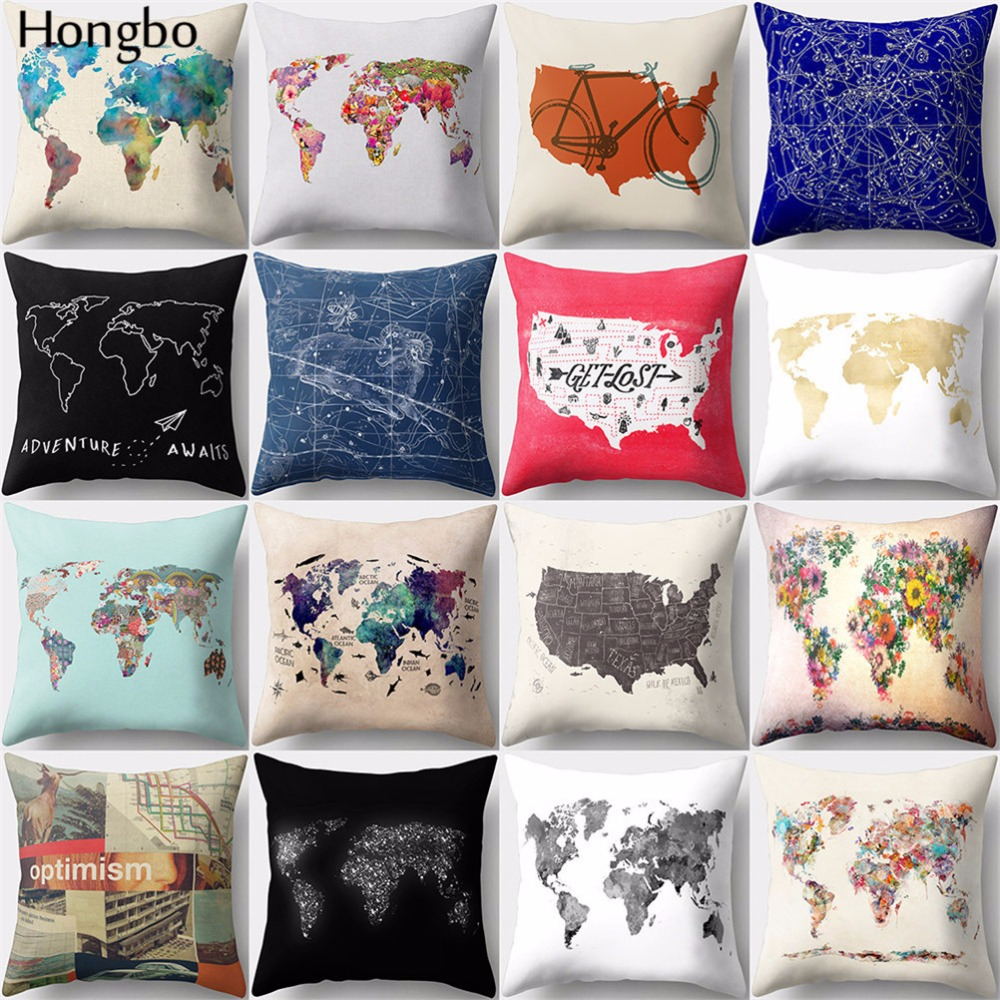 Hongbo 1 Pcs Vintage World Map Pattern Polyester  Pillow Cover Cushion Cover Pillow Case Home Decor For Car Sofa
