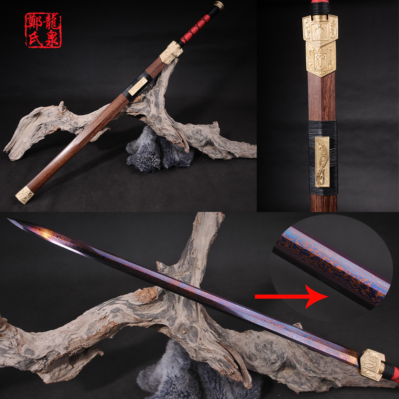Chinese Sword Real High Carbon Steel Blade With Pattern Rose Wood Scabbard Metal Craft Home Decoration-Dragon SwordChinese Sword Real High Carbon Steel Blade With Pattern Rose Wood Scabbard Metal Craft Home Decoration-Dragon Sword