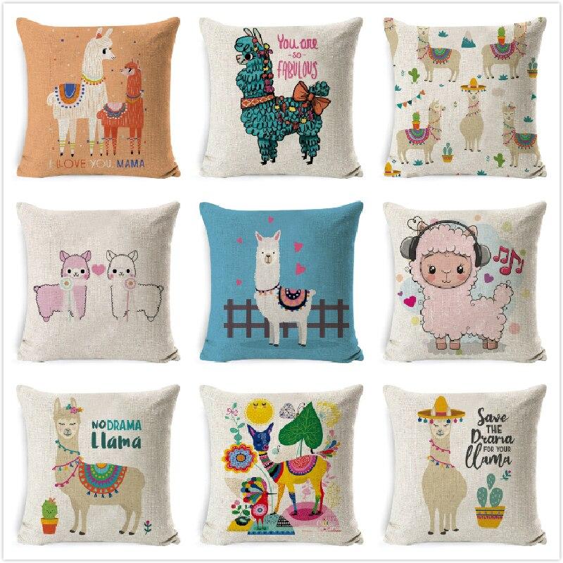 18/'/'Cartoon Animal Alpaca Cactus Pillow Case Throw Cushion Cover Home Sofa Decor