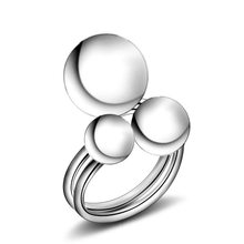 Trendy Three smooth balls Ring For Women Charm Silver Plated Party Finger Jewelry Girls Gift Dropshipping Wholesale