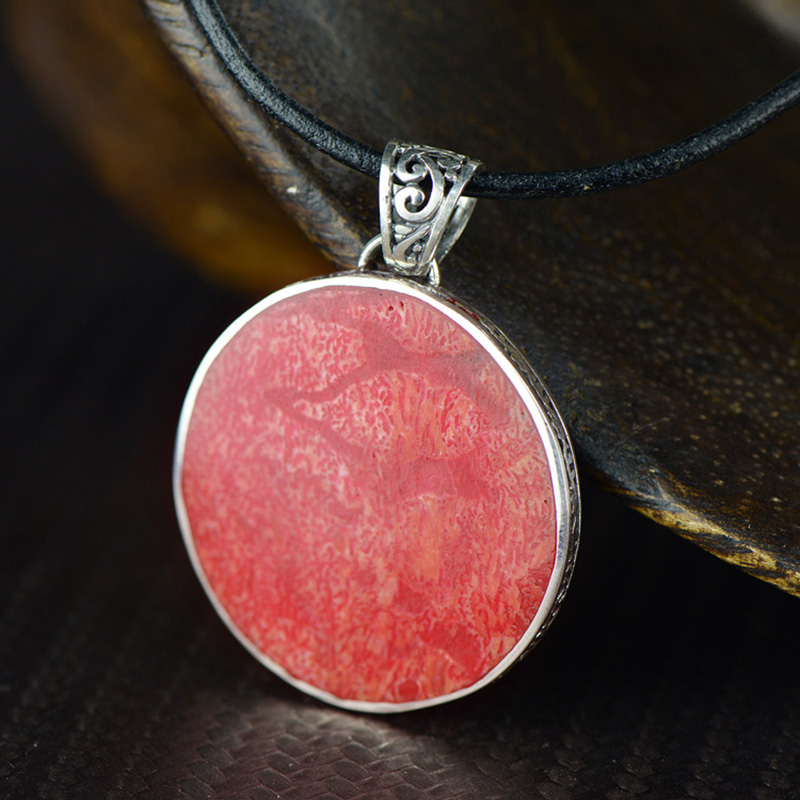 Genuine Silver 925 Jewelry Red Corallite Pendant For Women With Simple Round Antique Retro Pendants Jewelry Making ColgantesGenuine Silver 925 Jewelry Red Corallite Pendant For Women With Simple Round Antique Retro Pendants Jewelry Making Colgantes