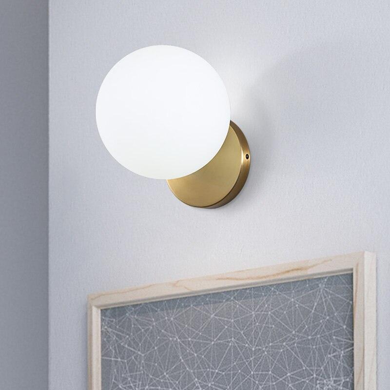 Lámparas de pared de noche Led de oro minimalismo nórdico espejo de estudio de bola de vidrio conciso accesorios de luz de baño envío gratis